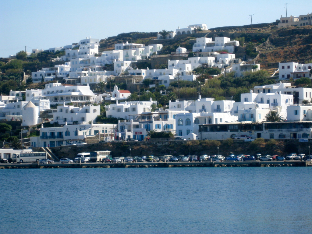 View of Mykonos from the ferry