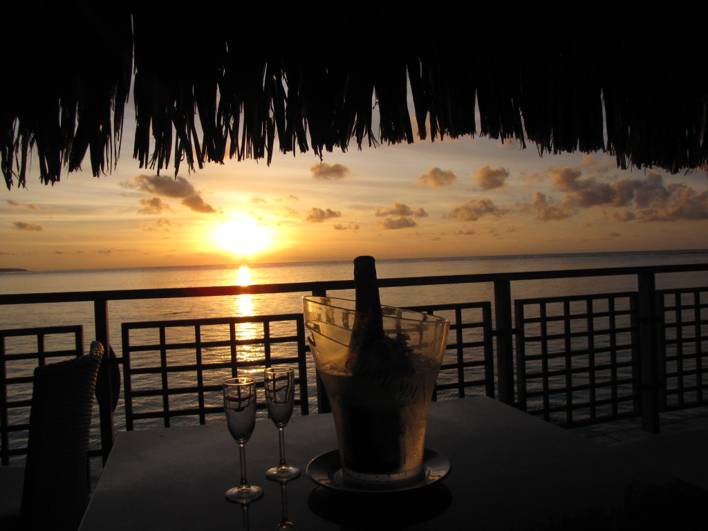 champagne and sunset