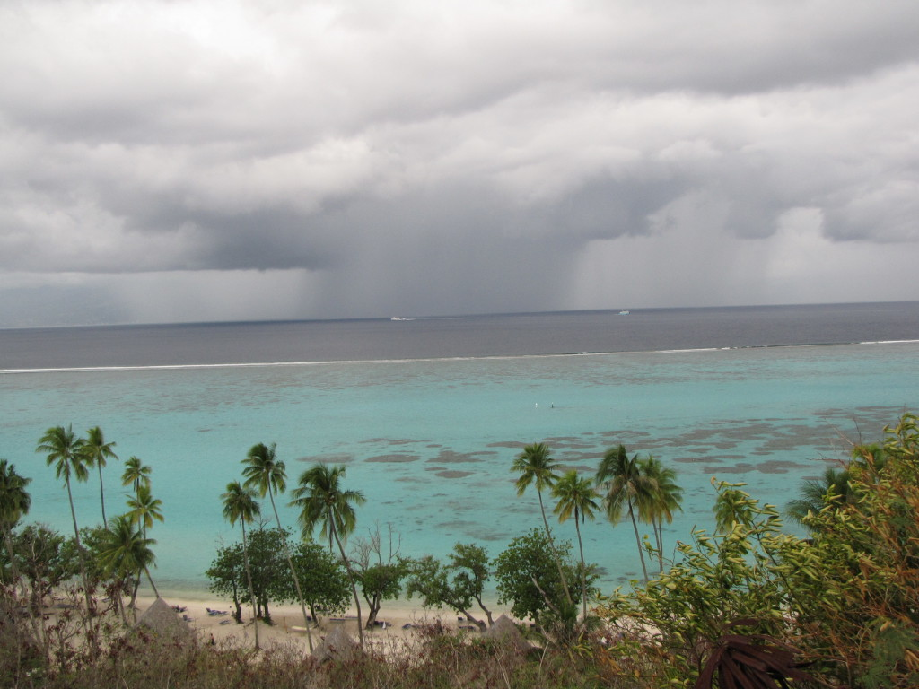 rain and turquoise waters