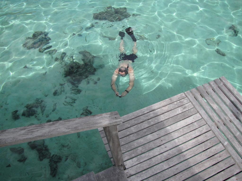 J snorkeling in Moorea
