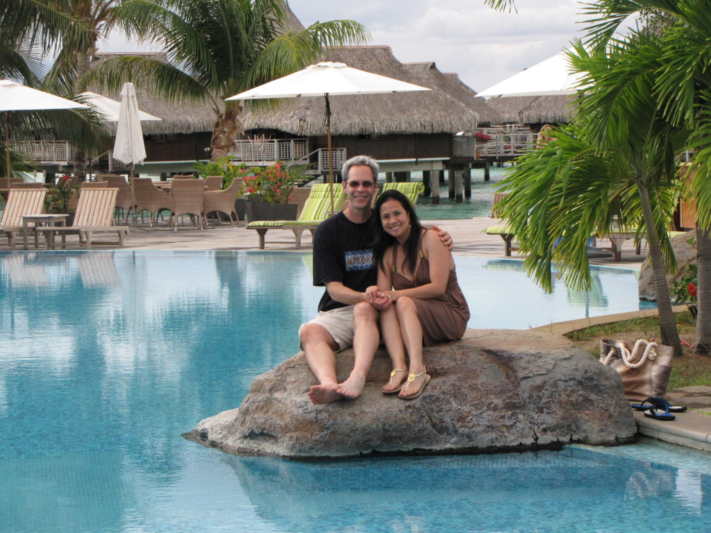 Lounging by the Hilton pool in  Moorea