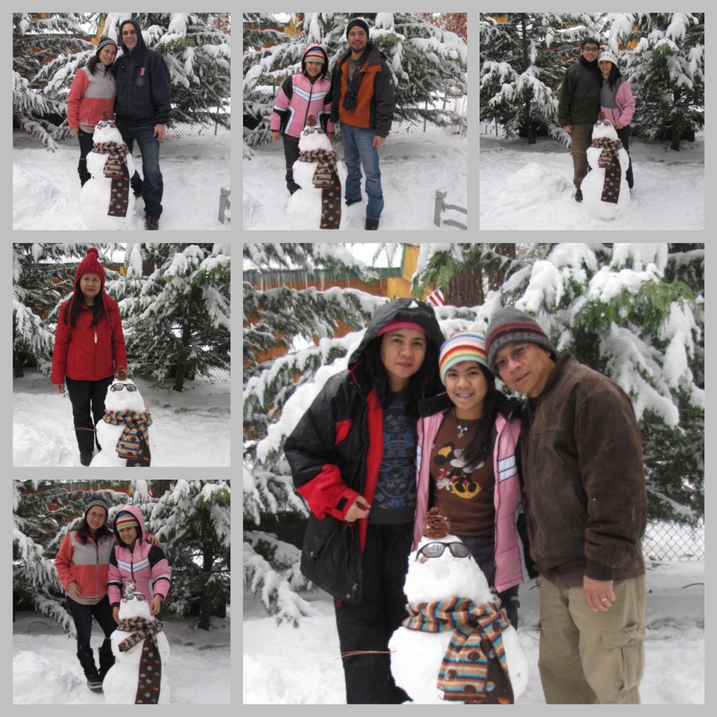 Pose with our snowman