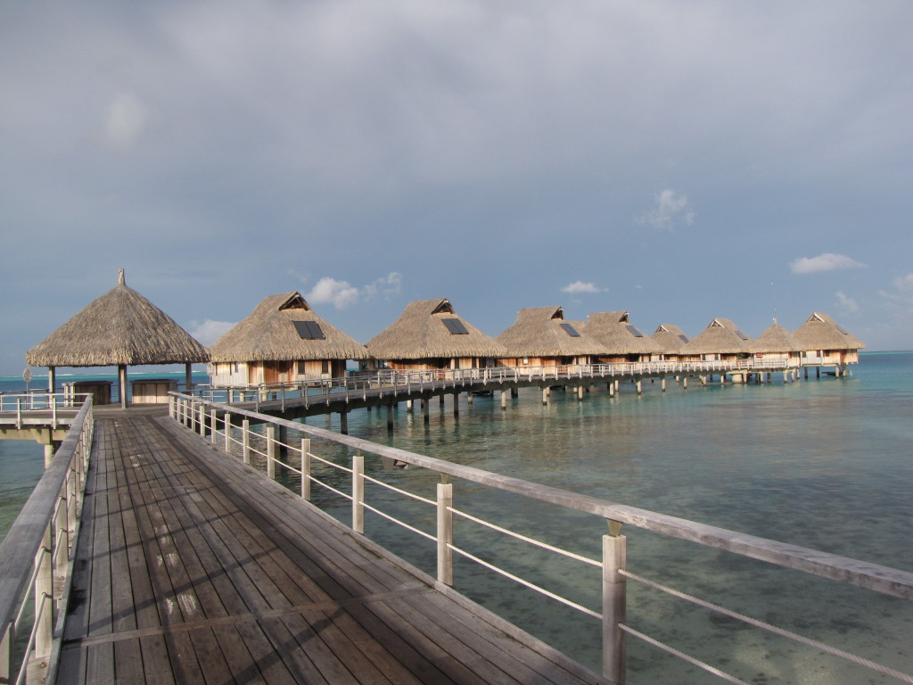 Overwater bungalows at the Hilton in Bora Bora