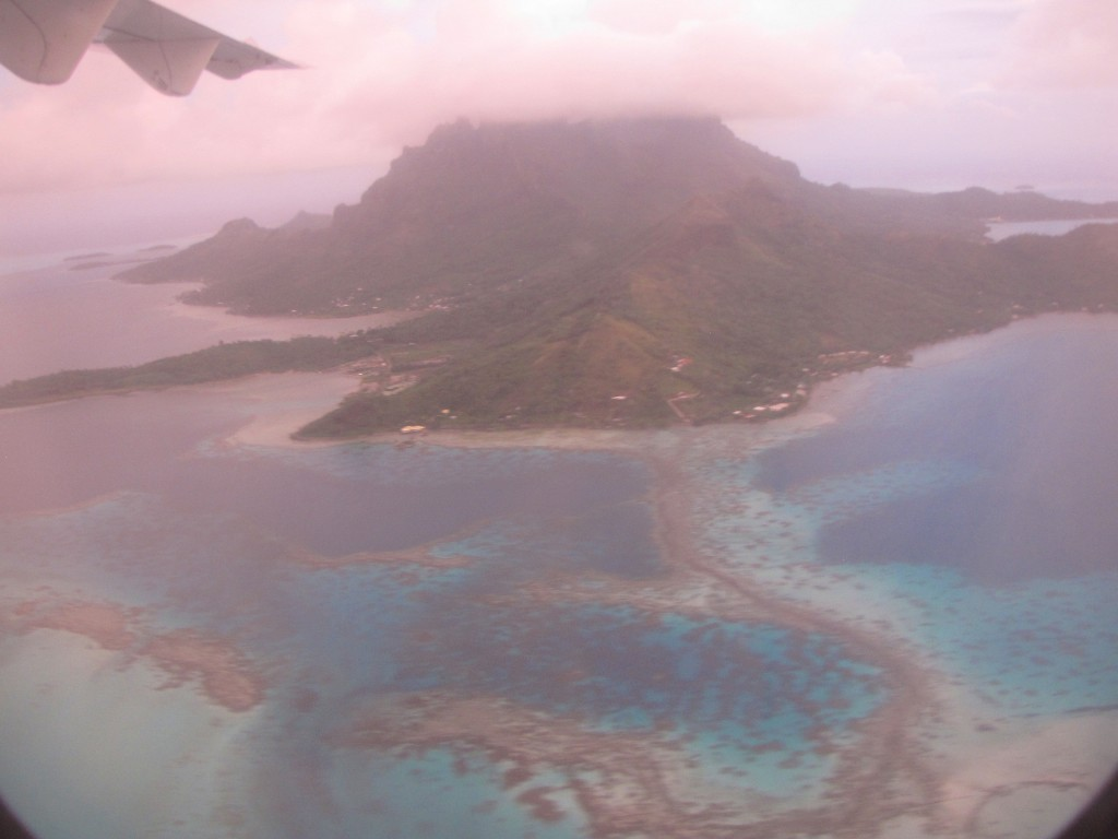 View of Bora Bora from the plane