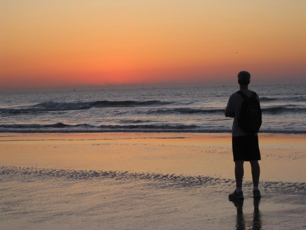 Joe watching the sunrise