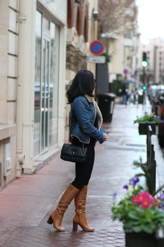 All black outfit with denim jacket