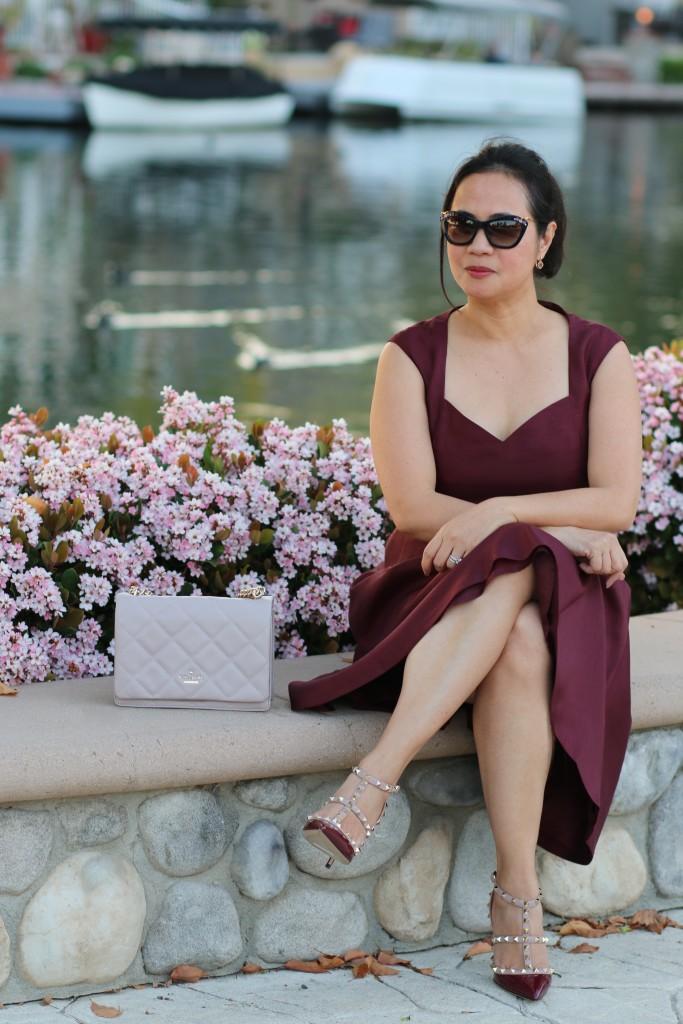 Valentino Rockstud Heels in burgundy
