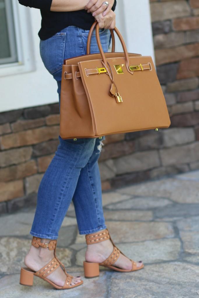 Hermes Birkin 35 Gold and Camel Aquazzura Block heels