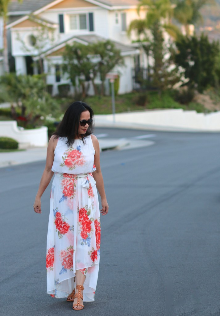 White and Orange Floral Spring Dress