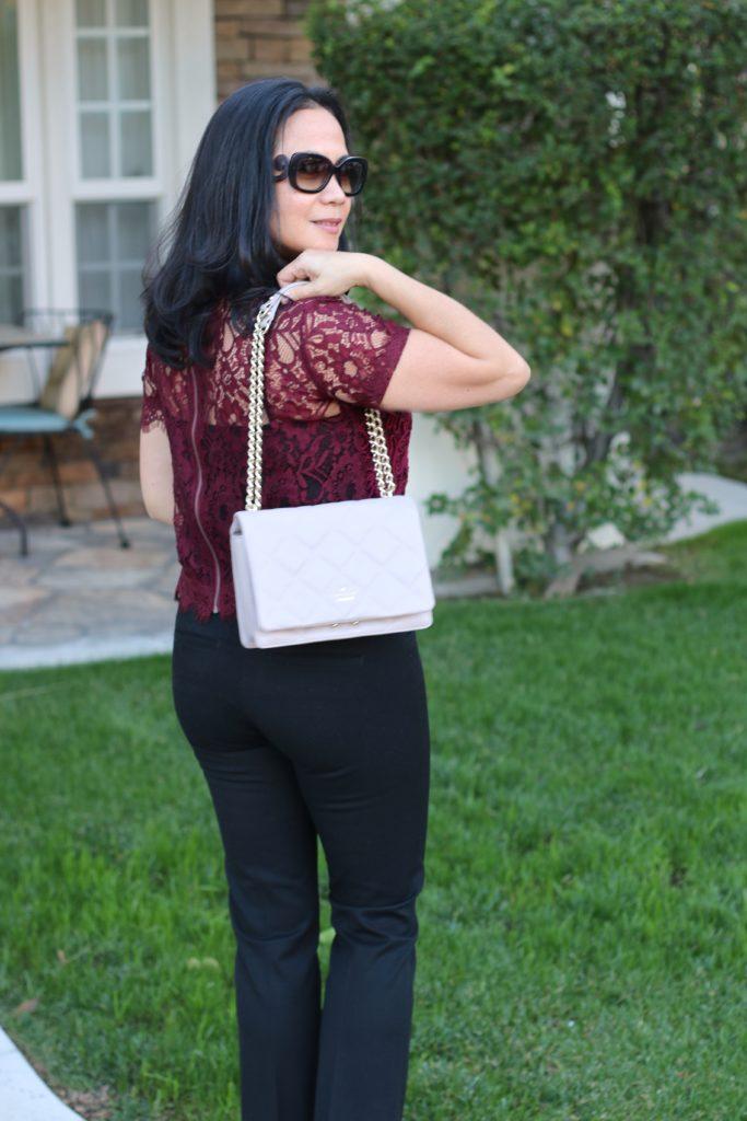 Zara Burgandy Lace Top