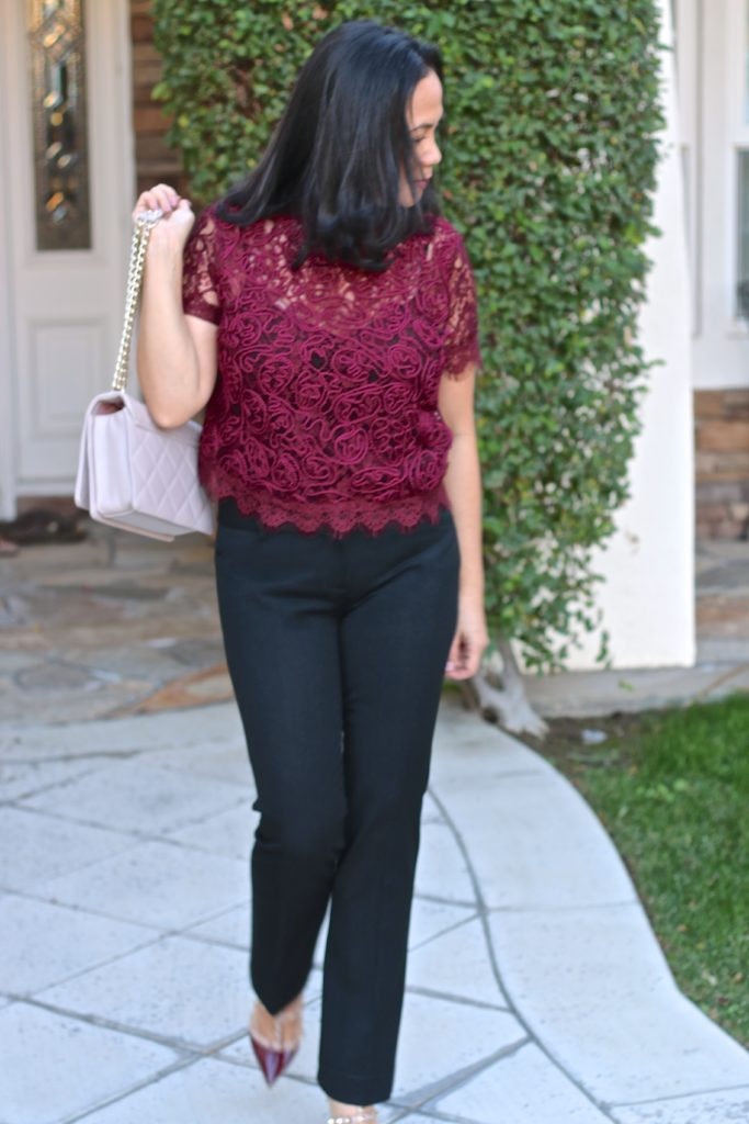 Lace top in Burgundy