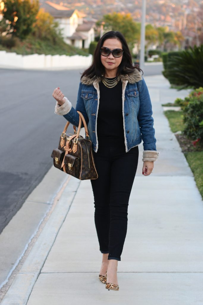 Black on black outfit with denim jacket