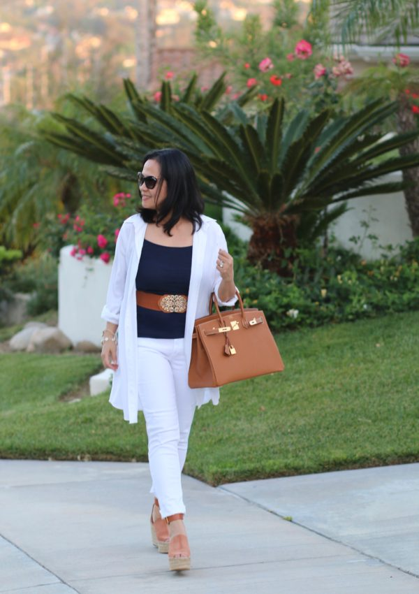 White, Blue, and Tan Outfit