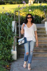 Blue Gucci Dionysus Blooms bag Rag and Bone distressed jeans