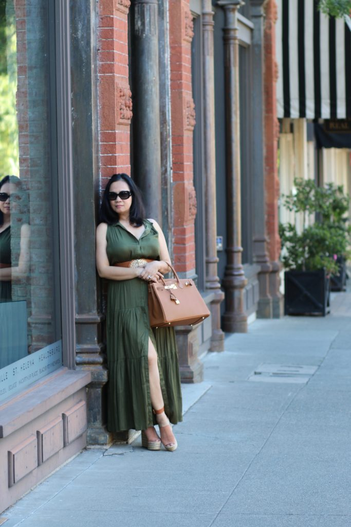 Long green dress from banana republic and gold hermes birkin 35 by My Life and My Style