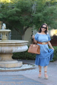 blue chambray dress with hermes birkin 35 in gold and chloe wedges by Emmalyn