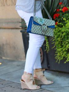Gucci Dionysus Blooms and tan Aquazzura Wedges