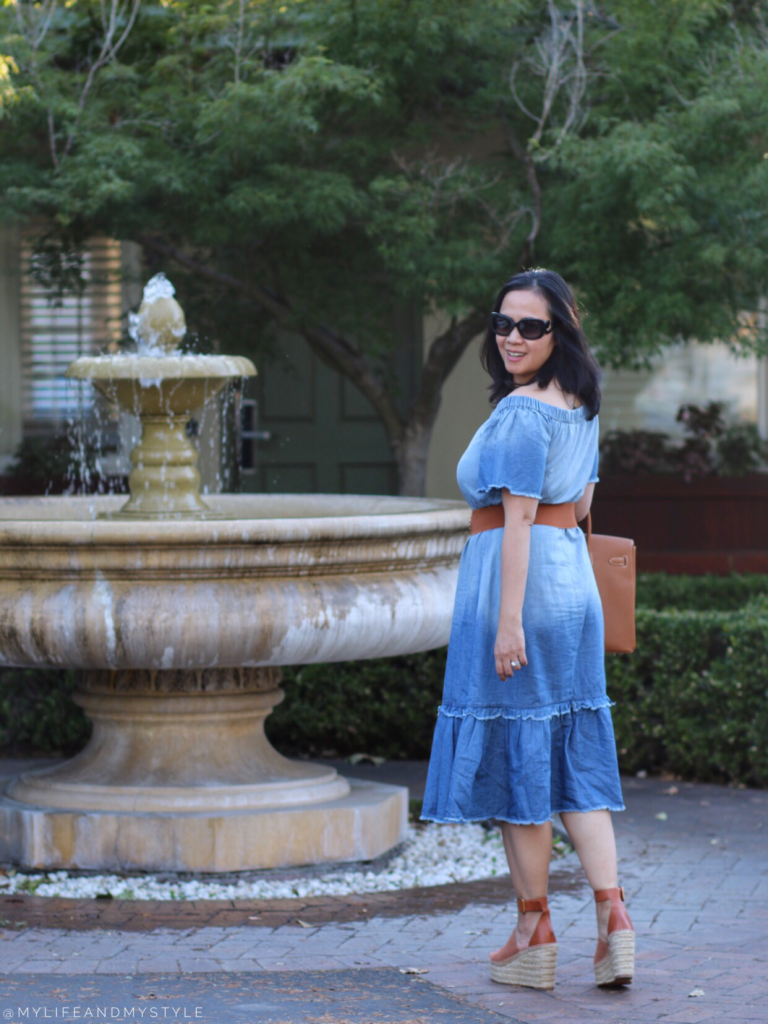 Blue Chambray dress with tan accessories by mylifeandmystyle