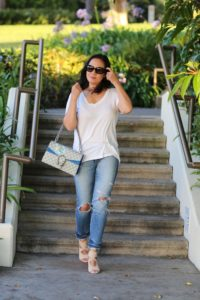 white tee with denim jeans and gucci dionysus blooms and aquazzura wedge shoes by MyLifeandMystyle