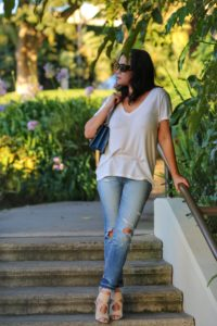 white tee denim jeans gucci dionysus blooms aquazzura wedge shoes by MyLifeandMyStyle