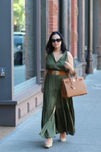 Long green dress from banana republic and Chloe wedge shoes and gold hermes birkin 35 by My Life and My Style