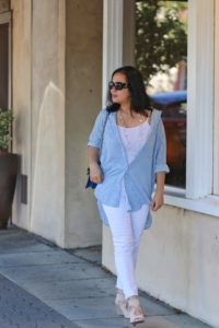 White jeans with blue and white stripe long sleeve shirt and aquazzura wedge shoes by MyLifeandMyStyle