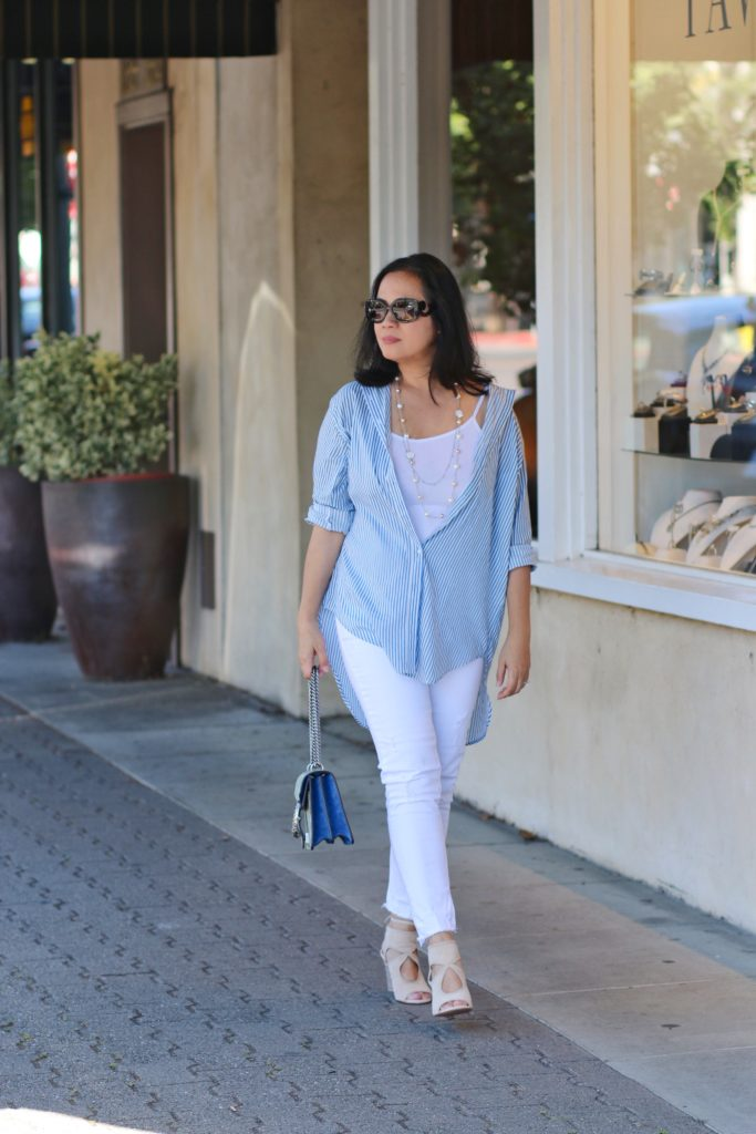 White jeans with blue and white stripe long sleeve shirt and aquazzura wedge shoes and gucci dionysus blooms by MyLifeandMyStyle