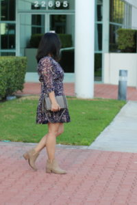 Blue floral dress and brown Hinge booties and taupe Rebecca Minkoff Love Crossbody bag by My Life and My Style